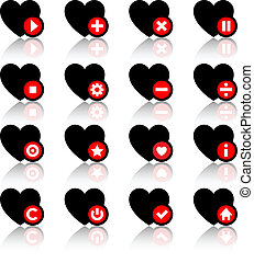 Icons set - black hearts and red buttons