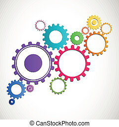 Vector Cog Wheels - Vector Illustration of Abstract Cog...