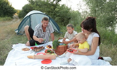 Family summer camping vacation