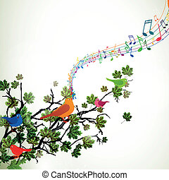 Vector Branch with Singing Birds - Vector Illustration of a...