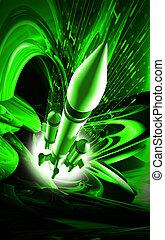 Rocket - Digital illustration of Rocket in colour background...