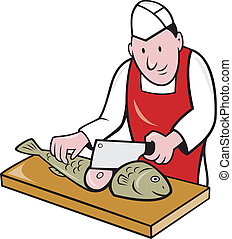 BSushi Chef Butcher Fishmonger Cartoon - Retro style...