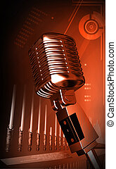 Steel microphone - Digital illustration of steel microphone...
