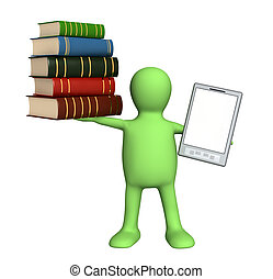 E-book - Puppet with e-book and books. Isolated over white