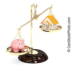 Piggy bank and house on bowls of scales. Isolated over white