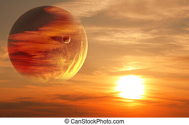 Sunset in alien planet