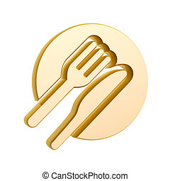 golden tableware symbol isolated on white background