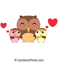 cute owl family - cute cartoon owl family