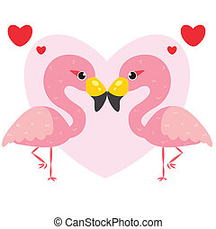 one pair of cute flamingos,vector