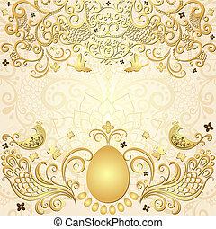 Gold easter vintage frame - Gold easter frame with big gold...