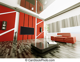 Modern living room interior 3d