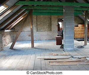 Attic construction - Photo of attic construction in cottage.