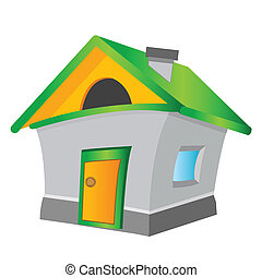 Lodge on white background - Cartoon of the building on white...
