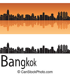 Bangkok skyline in orange background in editable vector file