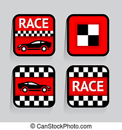 Race - set stickers square on the gray background