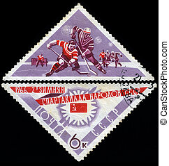 USSR - CIRCA 1966: A post stamp printed in USSR shows ice hockey, devoted to the Winter Games of people of the USSR, series, circa 1966