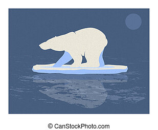 Polar Bear Illustration - Blue and white illustration of a...