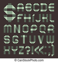Font from spindrift scotch tape - Roman alphabet (A, B, C,...