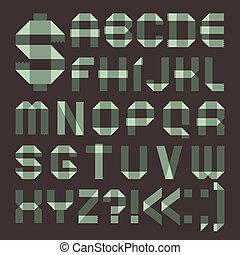 Font from spindrift scotch tape - Roman alphabet A, B, C, D,...