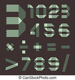 Font from spindrift scotch tape - Arabic numerals (0, 1, 2,...