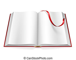open book with blank pages and sign