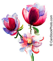 Watercolor illustration with beautiful flowers
