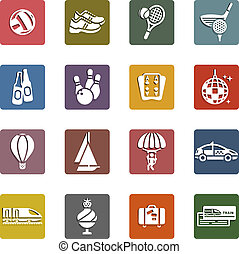 Recreation, Vacation & Travel, icons set - Retro color...