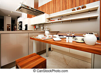 Beautiful modern kitchen - Modern kitchen design containing...