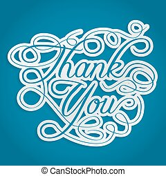 thank you words with swirls