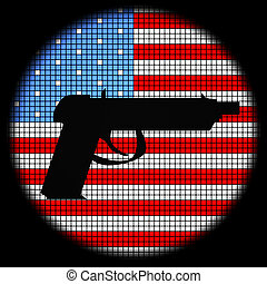 Pistol Icon on American Flag Checkered Background