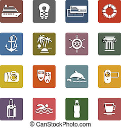 Travel, Vacation & Recreation, icons set