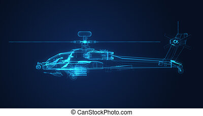 3d Wire Frame sketch of Apache Helicopter in xray textur