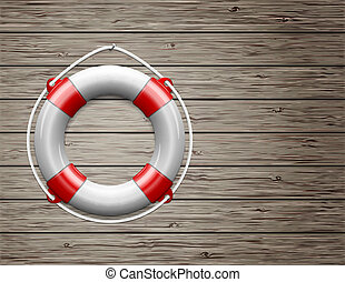 Life Buoy on a Wooden Paneled Wall with Copy Space. Vector...