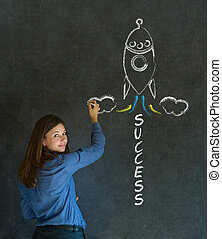 Business woman and chalk success rocket - Business woman...