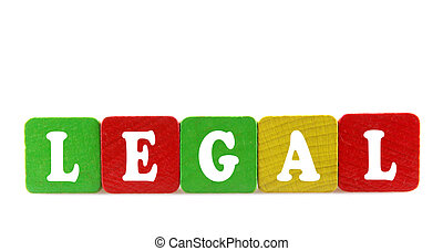 legal - isolated text in wooden building blocks