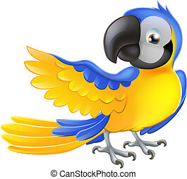 Cute blue and yellow parrot - Illustration of a happy blue...