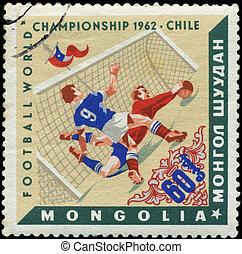 MONGOLIAN - CIRCA 1962: Various Soccer Scenes, Chile, 1962, circa 1962.