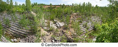 Old marble quarry overgrown with young trees