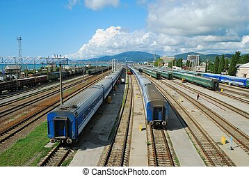 Long-distance trains - Transportation on a railway Big city...