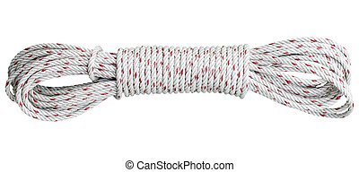 beautiful coil of rope isolated white - beautiful coil of...
