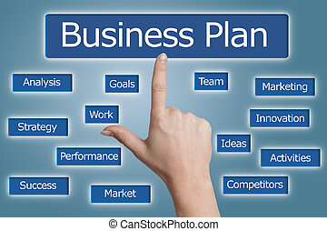 Business Plan - woman hand pressing business plan icon on...