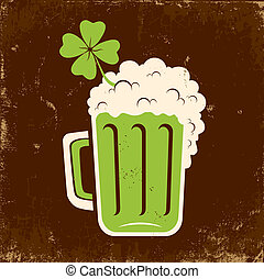 Mug of beer and clover on the feast of St. Patrick