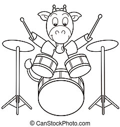 Cartoon Giraffe Playing Drums - Cartoon giraffe playing...
