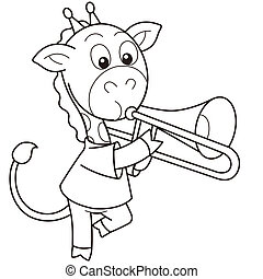 Cartoon Giraffe Playing a Trombone - Cartoon giraffe playing...