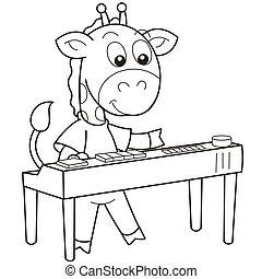 Cartoon Giraffe Playing an Electronic Organ - Cartoon...
