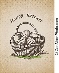 Easter basket - Vector hand drawn vintage background with...