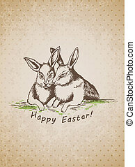 Easter background with rabbits - Vector hand drawn vintage...