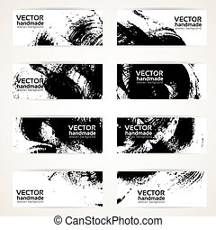 Set of abstract black vector banner - Set of abstract black...