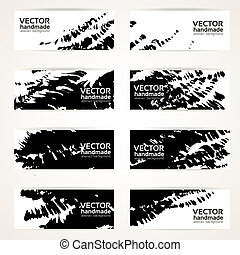 abstract black vector banners - Set of abstract black vector...