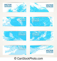 blue vector drawn by brush banners